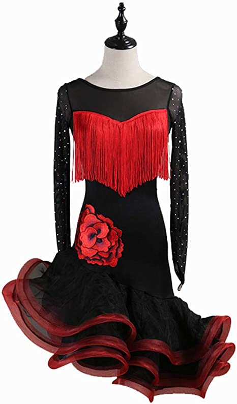 DSDBWQ Vestido de Baile Latino para Adultos Falda de Baile Latino ...