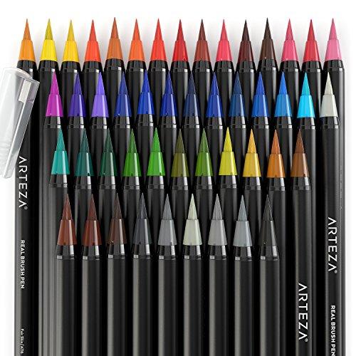 Arteza Real Brush Pens - 48-Colors - Watercolor Markers ...