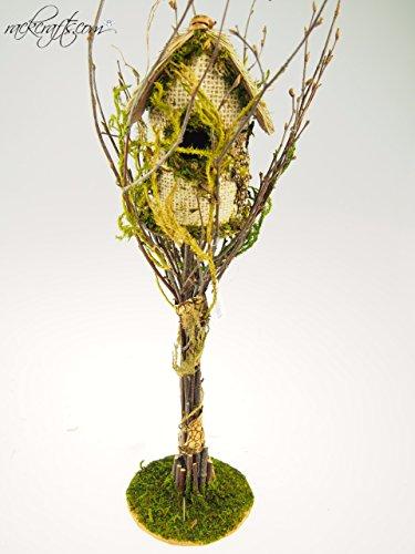 rackcrafts.com Bird House Hut Nest Green Moss Twig Wooden Wedding Baby Shower Garden Home Decor