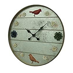 Wood & Metal Wall Clocks Galvanized Grey Rustic Birds And Flowers 24 Inch Round Metal Wall Clock 23.5 X 23.5 X 1.75 Inches Gray