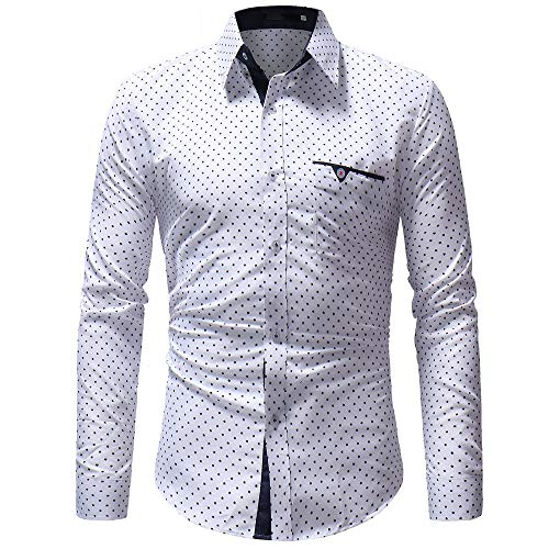 ZYEE Clearance Sale! Men's Autumn Blouse Casual Formal Polka Dot Slim Fit Long Sleeve Shirt Top -