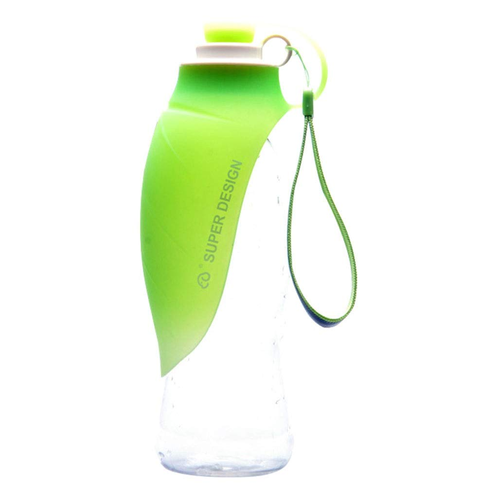 Outdoor Portable Pet Water Bottle, Lightweight Water Dispenser for Dogs and Cats Made of Food Grade Silicone (Green). (Color : Green)