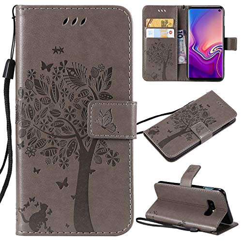 Galaxy S10 E Case,Samsung S10 E Case,Wallet Case,PU Leather Case Floral Tree Cat Embossed Purse with Kickstand Flip Cover Card Holders Hand Strap for Samsung Galaxy S10 E Gray ()