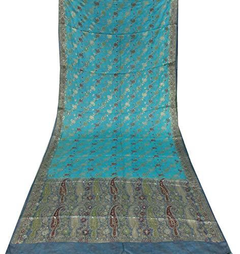 Sari Blue Turquoise (Vintage Turquoise Blue Sari Beaded Embroidery Wedding Saree Dress Silk Fabric Saree Wrap 5Yard Sarong)