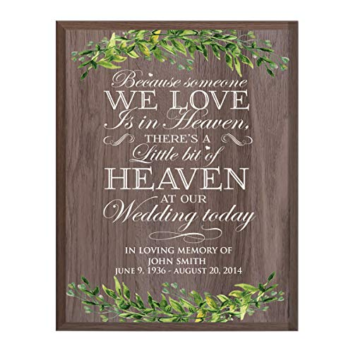 (LifeSong Milestones Personalized Wedding Because Sympathy Gifts for Loss of Loved one Bereavement Wall Plaque for Loss of Mother Father Child with Leaf Border (Salt)