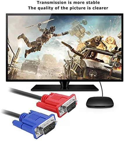 PrinceShop 1M Computer Monitor VGA Extension Cable VGA Cable HD 3+5 Pin Male to Male VGA Cable Cord Copper Line for Laptop PC