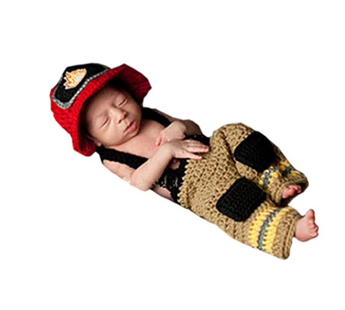 08545ae4840 Image Unavailable. Image not available for. Color  Pinbo® Newborn Baby  Photo Prop Crochet Firefighter Fireman Hat Pants Suspenders