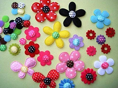Decorative notions and Trims - 200 Mix Satin Polka dot Flower Center Circle top Applique/Felt Back/Trim h39 - Embellish Garments, Pillows and Home d?cor
