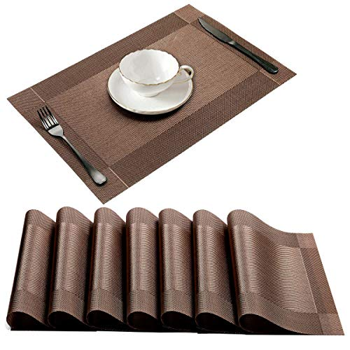 Ationgle Set of 8 Place Mats, Dining Table PlacematsHeat Resistant Washable Woven Vinyl Dinner Mats for Kitchen and Dining Room Coasters for Garden BBQ Outdoor 12×18 inches Brown