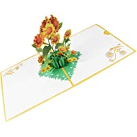 STOBOK Sunflower 3D Greeting Cards Thank You Card Anniversary Card Mothers Day Fathers Day Wedding Congratulations Gift