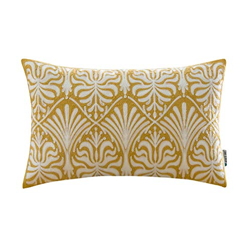 HWY 50 Yellow Embroidered Decorative Rectangle Throw Pillow Covers Cushion Cases for Couch Sofa Bedroom Simple Geometric Floral Accent Lumbar Pillowcases 12x20 inch, 1 Piece ()