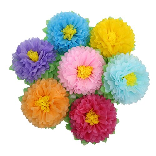 Mybbshower Large Rainbow Tissue Paper Flower Birthday Party Backdrop DIY Nursery Living Room Wall Decoration Pack of 7 -