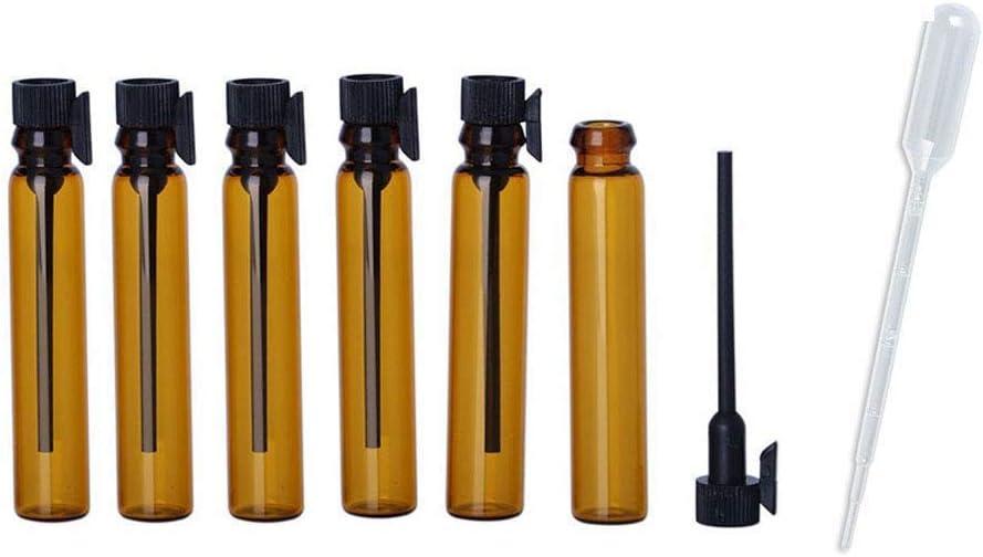 JJKMALL- 100pcs 1ml (1/4 Dram) Amber Mini Glass Bottle 1cc Amber Sample Vial Small Essential Oil Bottle Travel Must + Free 1ML Dropper Pipette [並行輸入品]