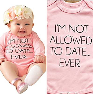 Baby Girl Bodysuit I'M NOT ALLOWED TO DATE Long Sleeve Romper Playsuit