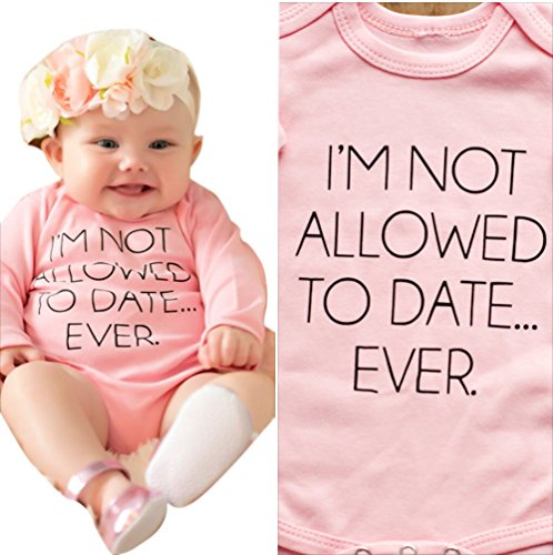 Baby Girl Bodysuit I'M NOT ALLOWED TO DATE Long Sleeve Romper Playsuit 6-9M, Pink