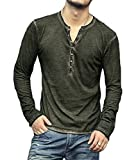 PERDONTOO Men's Casual Slim Fit Long Sleeve Henley T-Shirts Cotton Shirts (Large, Green)