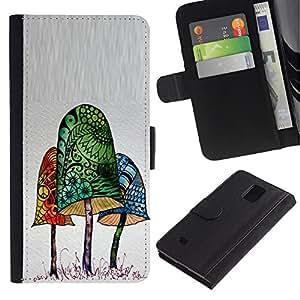 Paccase / Billetera de Cuero Caso del tirón Titular de la tarjeta Carcasa Funda para - Mushroom Poison - Samsung Galaxy Note 4 SM-N910