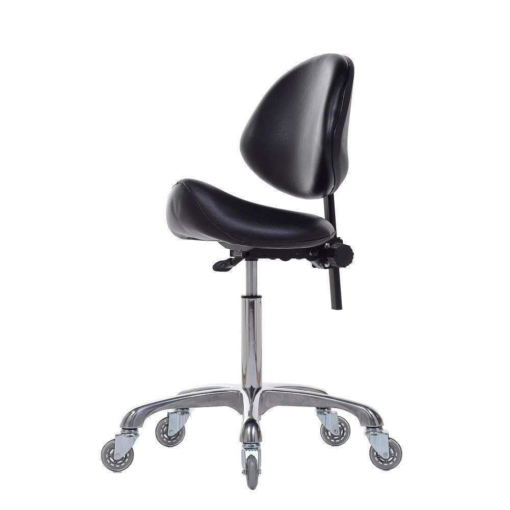 FRNIAMC Adjustable Saddle Stool Chairs With Back Support Ergonomic Rolling Seat For Medical Clinic Hospital Lab Pharmacy Studio Salon Workshop Office And Home … (With Backrest, Black)