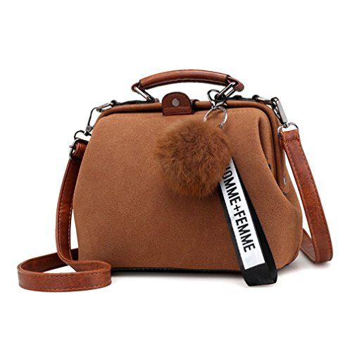 Top Handle Messenger Bags PU Doctor Women Handbag Bags Shoulder Tassel Leather Brown Crossbody Vintage qFxUwgaPF