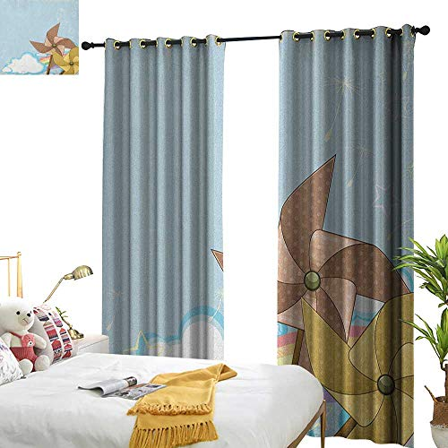 - Insulated Sunshade Curtain Vintage Rainbow Fantastic Blue Sky with Clouds Stars Dandelion Seeds and Two Pinwheels Home Garden Bedroom Outdoor Indoor Wall Decorations W72 x L96 Multicolor
