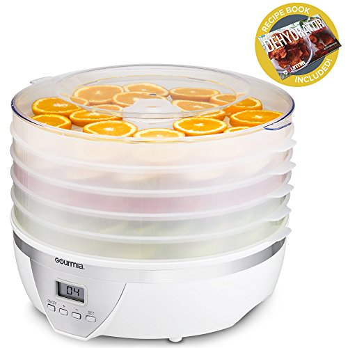 Gourmia GFD1550 Food Dehydrator - Digital Temperature Settings - Five Nesting Trays - Drying System for Beef Jerky, Fruits & More - BPA Free - 500W - White - Free Recipe Book ()