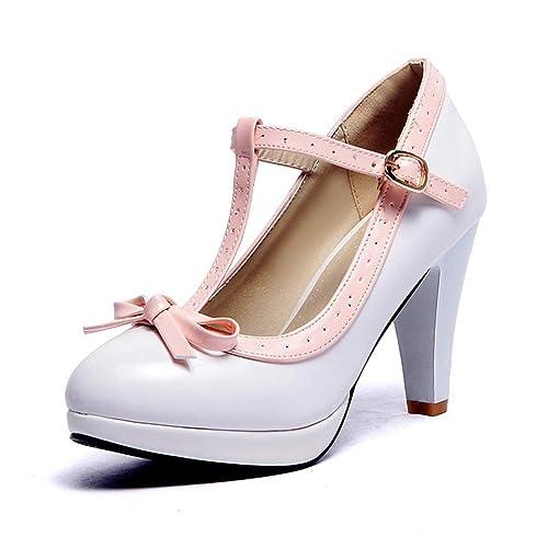 artesanía exquisita la mejor actitud acogedor fresco Las Mujeres Tacones Princesa Lolita Mary Jane Zapatos Bowtie ...