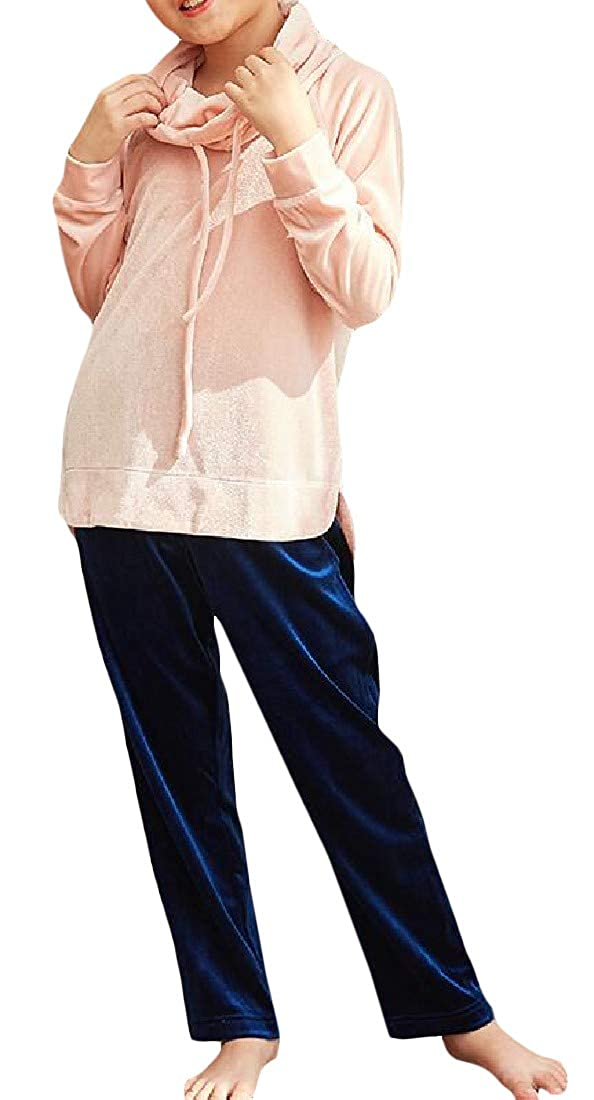 Macondoo Girl Long-Sleeve Top Sleepwear Velour Pants Two Pieces Pajama Sets
