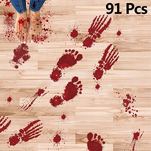 Begleri Halloween Decorations 91 Pcs Bloody Footprints Floor Clings Stickers Halloween Decor for Vampire Zombie Party Decorations