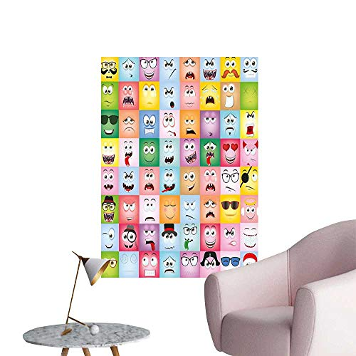 Alexandear Humor Art Decor 3D Wall Mural Wallpaper Stickers Set of Internet Cartoon Meme Funny Facial Gesture Emotion Icons Digital Illustration Fashion Stickers for Wall Multicolor W8 x H10 ()