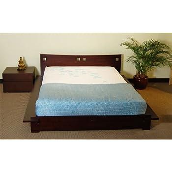 Amazon Com Tomaru Platform Bed Asian Style Wood Bed Frame With Headboard Dark Walnut Kitchen