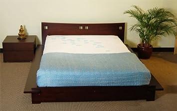 tomaru platform bed asian style wood bed frame with headboard dark walnut - Bed Frames Amazon