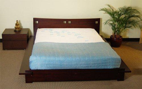 Tomaru Platform Bed Asian Style Wood Bed Frame with Headboard (Dark (Japanese Platform Bed Frame)
