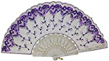"Just Artifacts 9"" White w/ Decorative Sequin Embroidery Folding Silk Hand Fans (Set of 5, Purple)"