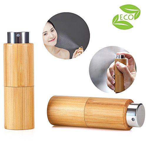Bamboo Perfume Spray Bottle Mini Rotatable Portable Refillable Perfume Sprayer Atomizer Empty Pump Bottles 10ml pack of 2 - Twist Bottle Perfume