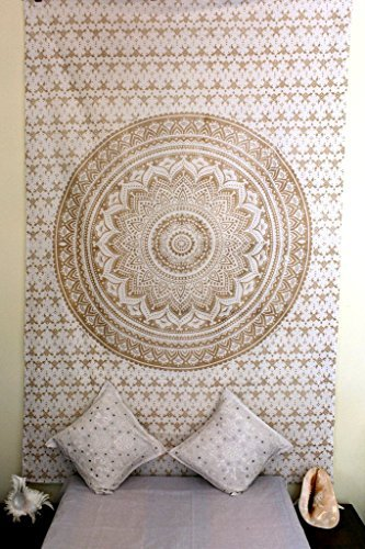 Stylo Culture Gold Mandala Tapestry Single Cotton Printed Wall Hanging Dorm Decor