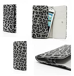 DFV mobile - Synthetic leather premium cover leopard with card case for > doogee dg350 / doogee pixels, color funda gris