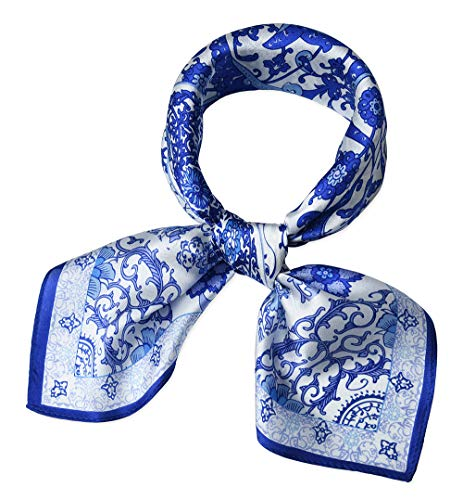 (corciova Women 100% Mulberry Silk Neck Scarf Small Square Scarves Neckerchiefs Flowers Blue and White)