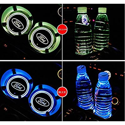 OSIRCAT LED Car Cup Holder Lights for Ford,7 Colors Changing USB Charging Mat Luminescent Cup Pad,LED Interior Atmosphere Lamp 2PCS: Automotive