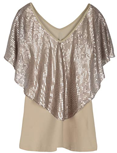 (PrettyGuide Women's Cold Shoulder Tunic Tops Sequin Cape Shimmer Bodycon Cocktail Party Top XL Champagne)