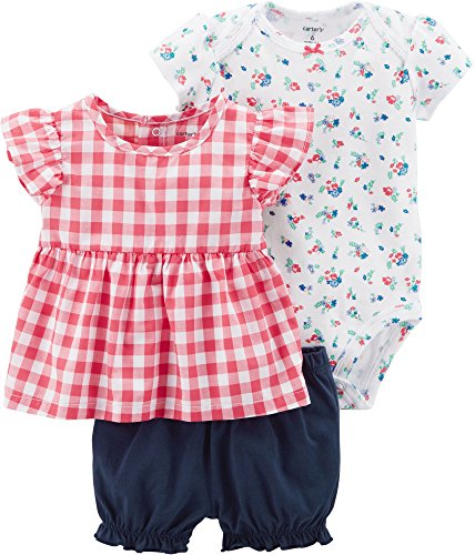 Carter's Baby Girls' 3 Piece Bodysuit and Diaper Cover Set 12 Months