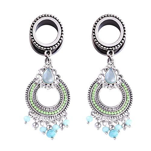 CHoppyWAVE Ear Gauges Plugs,Faux Turquoise Pendant Ear Plug Gauges Piercing Expanders Flesh Tunnel Gift 10mm (Turquoise Flared Plugs)