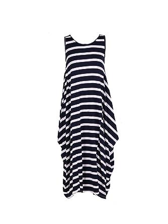 1aea11f31e6 LushStyleUK New Ladies Italian Stripy Sleeveless Tunic Dress Women Lagenlook  Dress Plus Size (Navy): Amazon.co.uk: Clothing