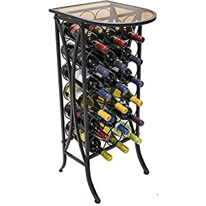 Sorbus Wine Rack Stand Bordeaux Chateau Style with Glass Table – Holds Bottles of Wine – Elegant French Style Wine Rack to Compliment Any Space – Minimal Assembly