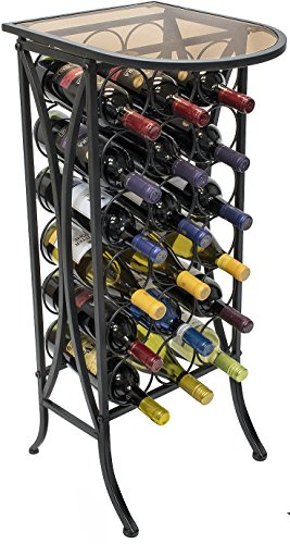 Sorbus Wine Rack Stand Bordeaux Chateau Style with Glass Table Top - Holds 18 Bottles of Your Favorite Wine - Elegant Looking French Style Wine Rack to Compliment Any Space - (Wine Stand - 18 Bottles) ()