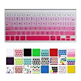 """DHZ Keyboard Cover Silicone Skin for MacBook Air 13 and MacBook Pro 13"""" 15"""" 17"""" (with or w/out Retina,Not Fit 2016 Macbook Pro 13 15 with/without Touch Bar) US Layout (Hot Pink Gradient)"""