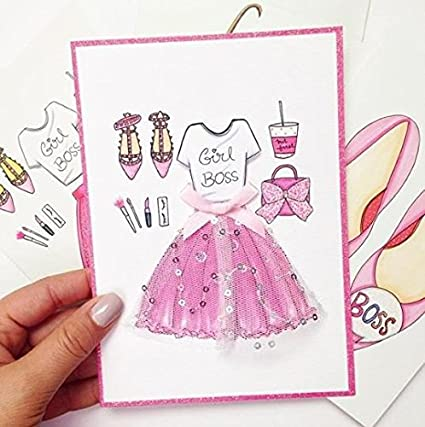 Boss Babe Card Girly Greeting Cards Feminine Birthday Pink For Her