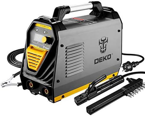 DEKOPRO 110 220V MMA Welder, 200A ARC Welder Machine Electrode Holder,Work Clamp, Input Power Adapter Cable and Brush