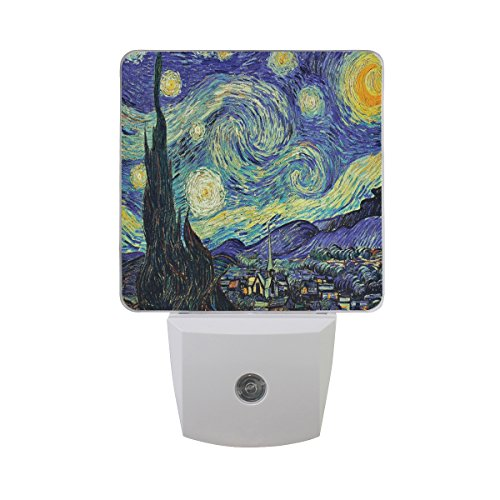 2 Goodnight Starry Night in Van Gogh Oil Painting Theme LED Night Light Dusk to Dawn Sensor Plug in Designs Indoor Home Decor for Adult Kids Baby Children ()