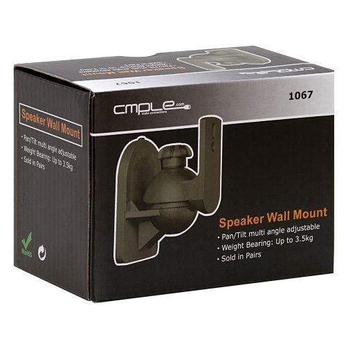 Cmple - Speaker Wall Mount for Satellite Speakers, Black - Pair
