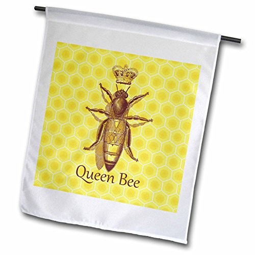 3dRose Russ Billington Designs - Stately Queen Bee with Royal Crown over Yellow Honeycomb - 12 x 18 inch Garden Flag (fl_219442_1)